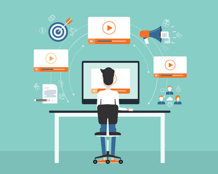 business video marketing content on line concept.