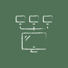 Group of monitors icon drawn in chalk.
