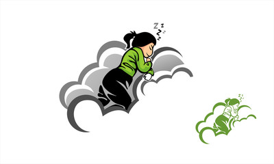 children sleep on the cloud