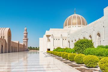 Sultan Qaboos Grand Mosque in Muscat, Oman. It was built in 2001.