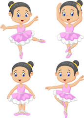 Cartoon little ballet dancer collection set