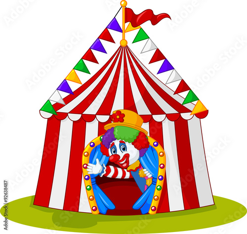 Cartoon clown come out from circus tent  sc 1 st  Fotolia.com & Cartoon clown come out from circus tent