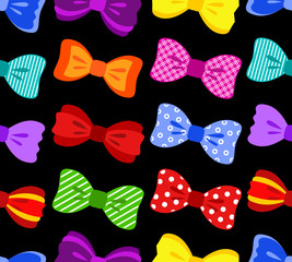 Colorful bow seamless pattern on black background
