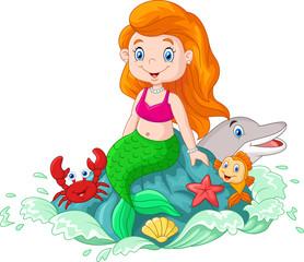 Cartoon happy little mermaid sitting on the rock