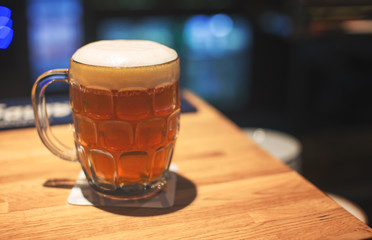Glass of craft beer made from rye