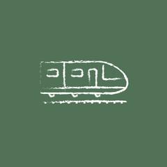 Modern high speed train icon drawn in chalk.