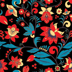 seamless traditional russia or orient flower pattern. vector ill