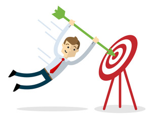 Vector of a businessman with an arrow and target