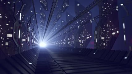 Futuristic glass corridor