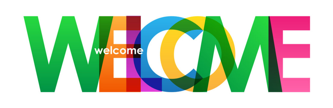 """""""WELCOME"""" overlapping letters vector icon"""