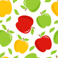 Seamless pattern with apples in a dot.