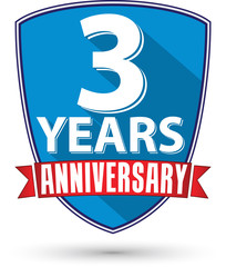 Flat design 3 years anniversary label with red ribbon, vector il