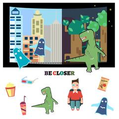 Color illustration of 3D cinema