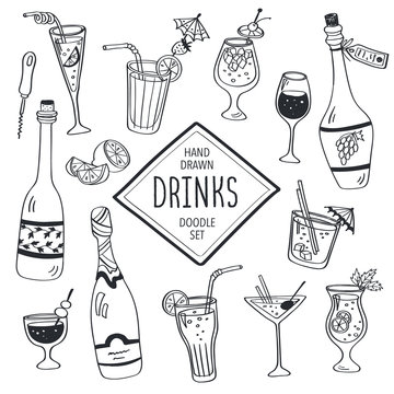 Drinks doodle set. Hand drawn cocktails icons isolated on white background. Doodle beverages collection. Bottles, glass, cocktails. Water, wine and juice.