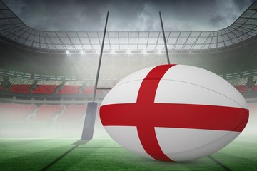 Composite image of england flag rugby ball