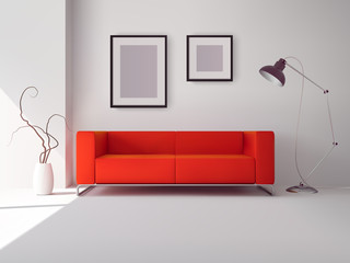 Red sofa with frames and lamp
