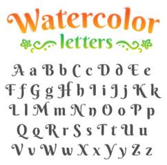 Digital watercolor alphabet set