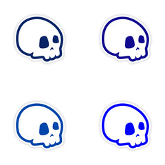 assembly realistic sticker design on paper skull