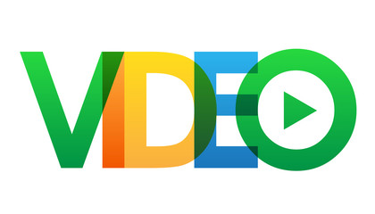 """VIDEO"" multicoloured vector letters icon"