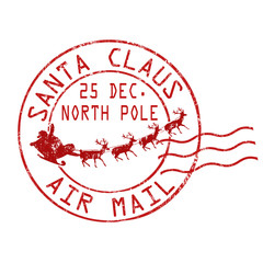 Santa Claus air mail stamp