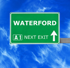 WATERFORD road sign against clear blue sky