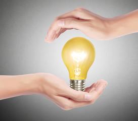 light bulb, Creative light bulb idea in the hand