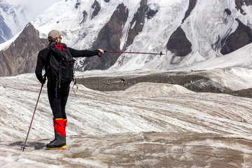 Mountain Climber Pointing Direction 