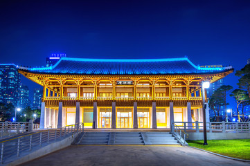 Traditional Korean style architecture at night in Seoul,Korea