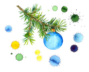 New year card with colorful fir branch with bauble in ink drops