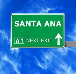 SANTA ANA road sign against clear blue sky
