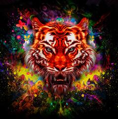 тигр на красочном фоне