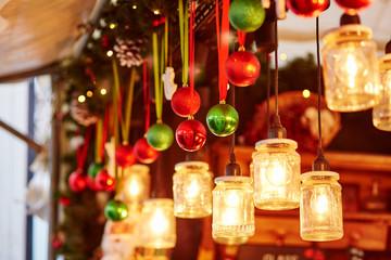 Colorful Christmas decorations on a Parisian Christmas market