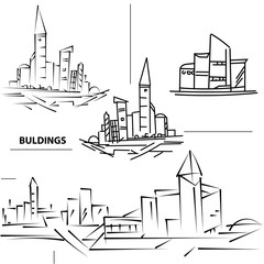 Set buildings city's. Sketch houses and building. Minimalism con