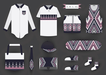Corporate design fashion set template. T-shirt,clothing,bag,shoes,necktie,cap and skateboard.