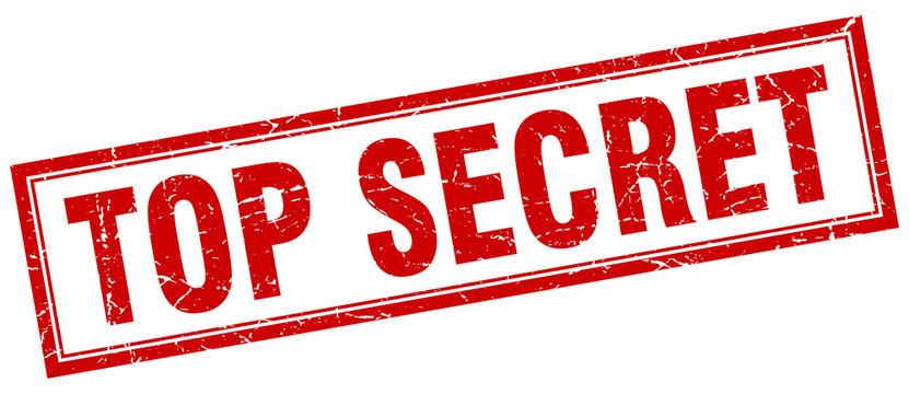 top secret red square grunge stamp on white