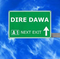 Obraz DIRE DAWA road sign against clear blue sky - fototapety do salonu