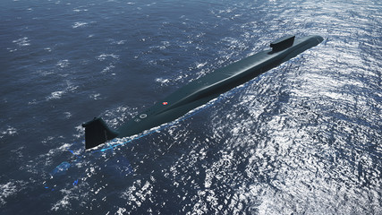 Surfaced russian submarine Borei at sea. Aerial view. Realistic 3D illustration was done from my own 3D rendering file.