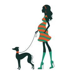 Illustration of a Beautiful woman silhouette  with greyhound.