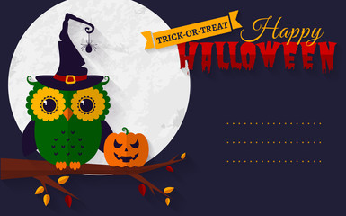Halloween card with owl and pumpkin.
