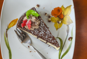 Cake Dessert And Fork On A Saucer
