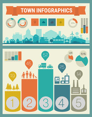 Vector infographics. Town and village