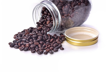 Wall Mural - Bottle coffee beans isolated white background