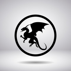 Dragon silhouette in a circle