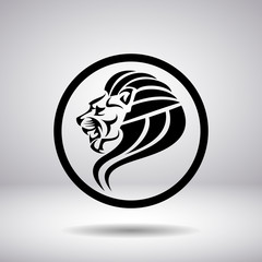 Silhouette of a lion's head in a circle