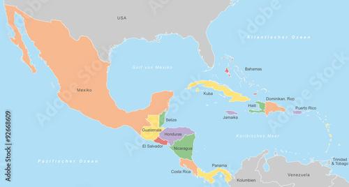 Mittelamerika Karte Staaten.Mittelamerika Karte In Farbe Mit Beschriftung Stockfotos Und