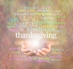 Thanksgiving Word Cloud Website Banner - Female cupped hands  with a white 'Thanksgiving' word floating above surrounded by a relevant word cloud on a light stone effect background