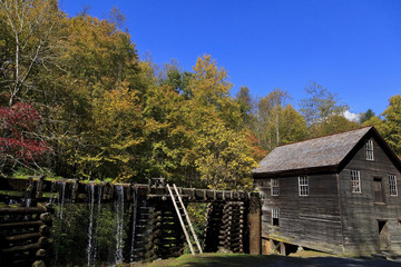 Aluminium Prints Mills Historic Mingus Mill near Cherokee, North Carolina during the fall