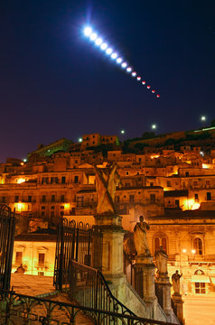 Moon Eclipse over Modica - Sicily