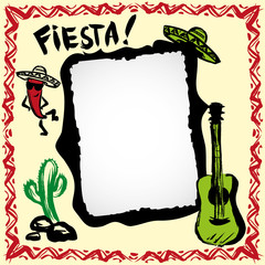mexican fiesta frame with sombrero's, cactus, chili's and guitar