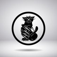 Silhouette of a predatory cat in a circle
